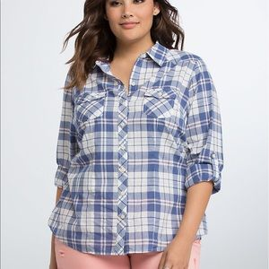 Torrid plaid camp shirt